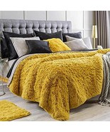 Bedding Mustard Yellow Blanket with Sherpa King XL Size Softy Plush Thic... - $123.70
