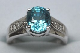 Custom 14K White Gold Natural Blue Zircon and Diamond Ring (3.45ct+/-; S... - $540.00