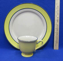 Gibson Home Dinner Plate & Footed Cup Yellow Blue Bands Boarder GID348 Lot of 2 - $16.82