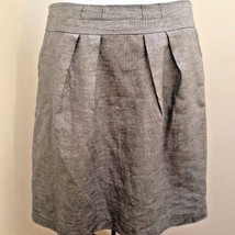 Talbots 12 Skirt Silver Gray Shimmer Linen Blend Pleated Holiday - $27.42