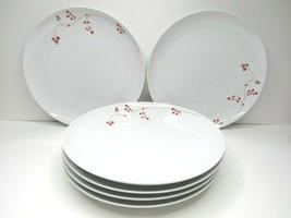 """6 Mikasa Red Berries Gourmet Basics Porcelain Berry Vine 10 1/2"""" Dinner ... - $45.41"""