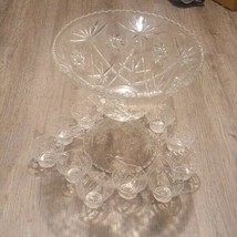 Vintage glass Punch Bowl Laddle & 12 Cup Set Party  - $130.07