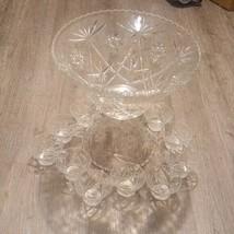 Vintage glass Punch Bowl Laddle & 12 Cup Set Party  - $130.07