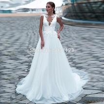 Simple Tulle V Neckline A Line Wedding Dresses Vintage Sleeveless Lace Applique  image 2