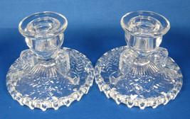 Candleholders Vintage Pair Anchor Hocking Herringbone Glass Candle Holders 1960s - $28.00
