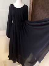 BLACK Chiffon Maxi Dress long sleeve Loose Plus Size Chiffon Dresses