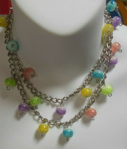 Vintage Long Colorful Pastel Striped Art glass Bead Chain Necklace - $34.65