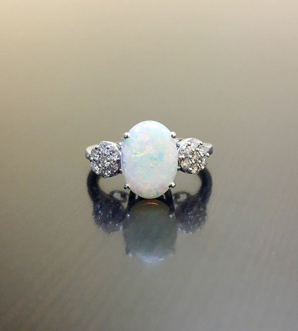 Primary image for Oval Cut Opal Cluster Of White Diamond Womens Engagement Ring Solid 925 Silver