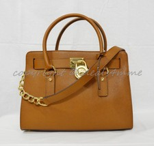 NWT Michael Kors East West Hamilton Saffiano Leather Satchel Bag Luggage Brown - $189.00