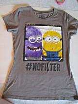 Girls Large, Tee T Shirt Despicable Me Minion Gray, Universal Studios - $6.50