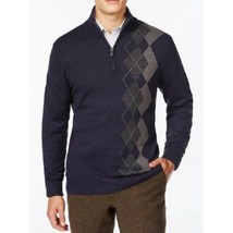 Tricots St. Raphael Mens Sweater Sz S Navy Blue Multi Argyle Mock-Neck Half-Zip