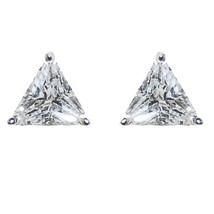 Triangle Shape Clear 5A Cubic Zircionia Stud Earrings 8MM Of Bling - $19.79