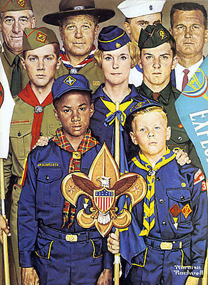 Primary image for America's Boypower 22x30 Boy Scout Art by Norman Rockwell Hand Numbered