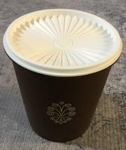 Vintage Tupperware Mushroom Brown Canister w/ White Lid 807 - $5.34