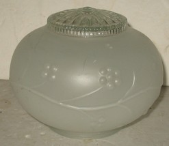 Vintage Frosted & Clear Embossed Flower Design Glass Lamp Light Fixture ... - $10.89