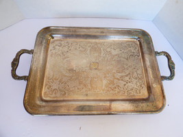 "VTG Silver Plated  13.5""x9.5"" small Serving decor Tray floral scroll pat... - $54.70"