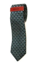 NEW ALFANI RED LABEL TEAL GUILDFORD GEO PRINT 100% SILK NECK TIE ONE SIZE - $14.72