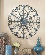 Teal Turquoise Fleur De Lis Metal Vintage Style Ornate Medallion Iron Wa... - $21.84