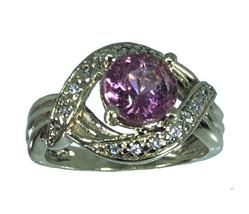 14k Pink Tourmaline & Diamonds Ring, Free Sizing, USA made - $499.00