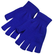 Navy 2 Pair Unisex Soft Half Finger Gloves Warm Knitted Mittens Fingerless - $265,75 MXN