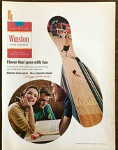 1966 Winston Cigarettes Print Ad Young Couples Bowling Photos in Ball Pi... - $10.89