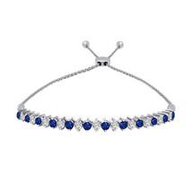 1.05 Ct Sapphire & White Diamond Sterling Silver Adjustable Tennis Bolo ... - $324.35 CAD