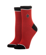 Harley Quinn EmbroideJuniors Socks Red - $13.98