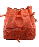 Leather Shoulder Bag Tote Crossbody, Moroccan Leather Boho Shoulder Bag - $54.95