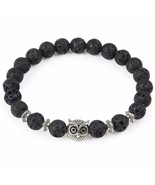 Bracelet Black Lava Natural Stone Beads Silver Plated Owl Yoya Charm - $10.99
