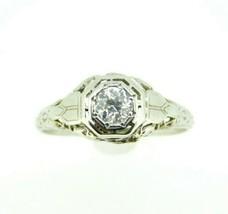 Art Deco 18k White Gold Genuine Natural Diamond Filigree Ring .29ct (#J863) - $950.00