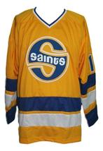 Custom Name # Minnesota Fighting Saints Hockey Jersey Antonovich Yellow Any Size image 3