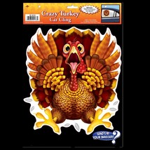 Funny CRAZY WILD TURKEY CAR CLING Backseat Window Decal Thanksgiving Dec... - ₨270.48 INR