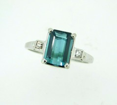 Platinum 2.07ct Teal Genuine Natural Tourmaline and Diamond Ring (#J5111) - $1,895.00