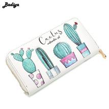 Badiya Cactus Plant Printing Women Summer Long Wallet PU Leather Phone P... - €25,64 EUR
