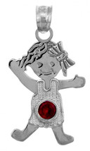 White Gold July Birthstone Ruby Red Round CZ Baby Girl Charm Pendant - $58.79+