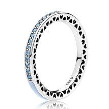 925 Sterling Silver Radiant Hearts,Air Blue Enamel & Sky Blue Cz Ring QJCB1187 - $21.66