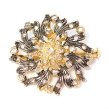 ITALIAN SILVER VERMEIL OLD CUT DIAMONDS BROOCH PENDANT  - $141.55