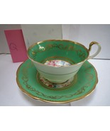 AYNSLEY TEACUP AND SAUCER - GREEN AND GOLD WITH FLOWERS IN CENTER - Q - $58.00
