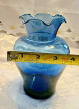 "Vintage Ruffled Collar Blue Glass Vase 6"" by 6"" image 3"