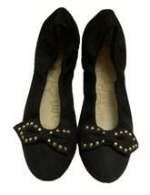Sam Edelman Felicia Ballet Bow Flats Slip On Gold Studded Black Suede Sz 5M - $33.85