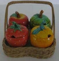 Vintage Condiment Set & Carrier  Serv Well Fruit and Vegetable Jars - $23.33
