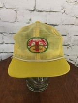 Dorfman Pacific Gold Mesh Trucker Hat Snapback Pale Yellow Vintage - $26.72
