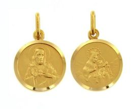 18K YELLOW GOLD SCAPULAR OUR LADY OF MOUNT CARMEL SACRED HEART MEDAL ITALY MADE image 7