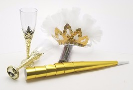 6 Ladies night out party kit feather tiaras blowers confetti glasses - gold - $14.80