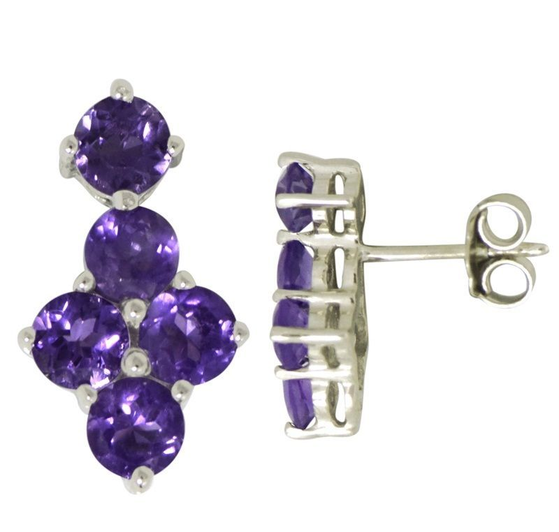 New Designer Amethyst Gemstone 925 Sterling Silver Women Earring SHER0232