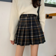 Women Navy Plaid Pleated Skirt Winter Wool Short Plaid Pleated Skirt Plus Size image 4