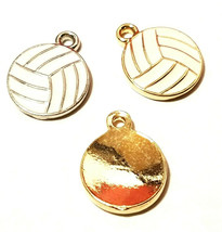 Epoxy Enameled Volleyball FINE PEWTER PENDANT CHARM - 13mm L x 16mm W x 2mm D