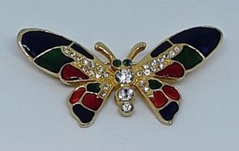 VINTAGE Red Green Blue Enamel Rhinestone Gold Tone Butterfly Brooch Pin EUC - $14.95
