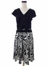 Sandra Darren Dress 12 Black & Ivory Floral Print Belted Business Work L... - $25.00