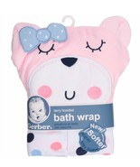 Gerber Newborn Girl's'Terry Hooded Bath Wrap with Bear Applique - $15.95